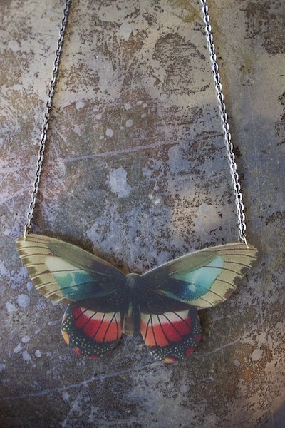 Beijo Brasil Red Tipped Wing Butterfly Necklace