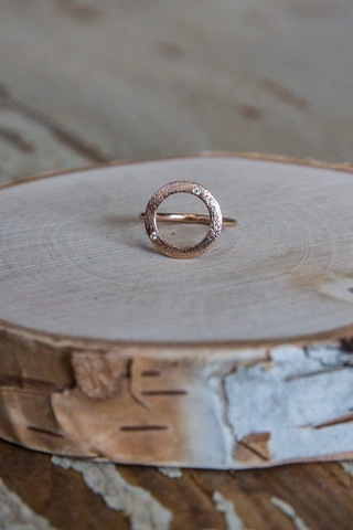 Open Coin Stone Ring Rose Gold