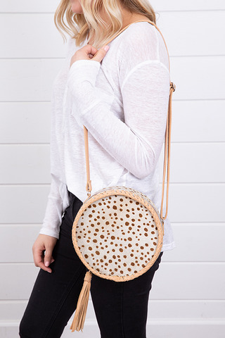 Circle Cowhide Bag Tan Leopard