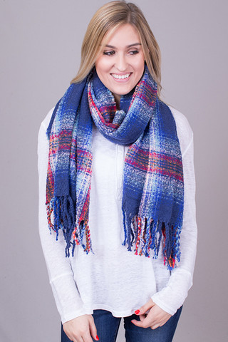 Lovestitch Blue Plaid Brushed Boucle Scarf