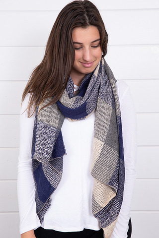 Lovestitch Blue Plaid Knit Scarf