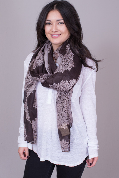 Lovestitch Brown Flower Print Scarf
