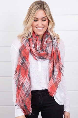 Lovestitch Flannel Red Scarf