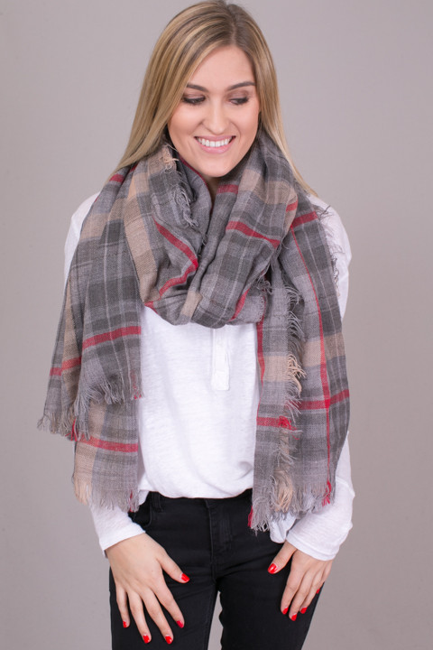 Lovestitch Red And Grey Check Scarf