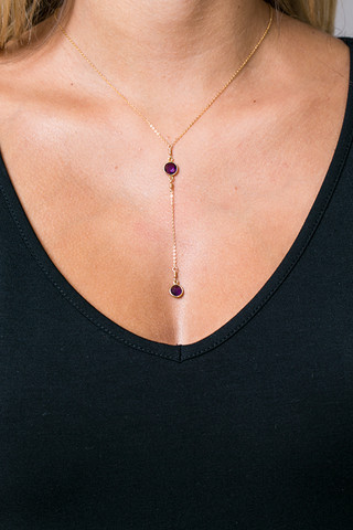 London Manori Short Amethyst Lariat