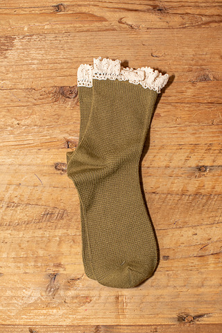 Free People Beloved Waffle Knit Ankle Olive