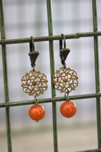Tangerine Glass Earrings