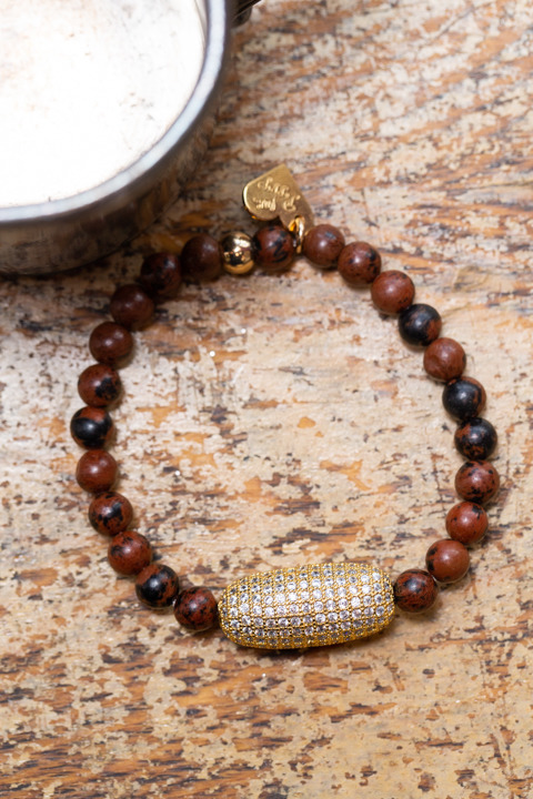 Love Poppy Jewels Tigers Eye Beaded Pave Bracelet