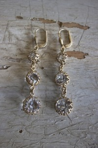 Triple Crystal Earrings