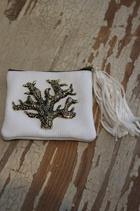 White Coin Purse with Coral Charm