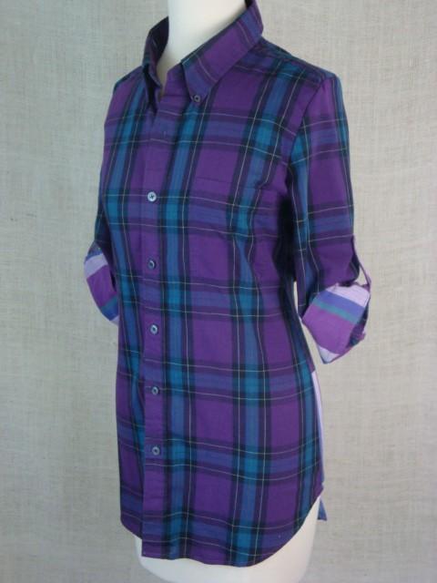 Vintage Purple Plaid Shirt Blouse
