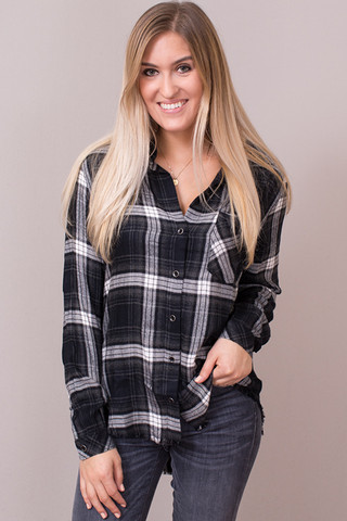Bella Dahl Charcoal Frayed Hem Button Down