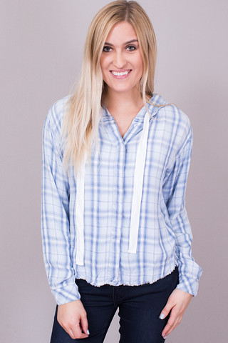 Bella Dahl Indigo Frayed Button Down