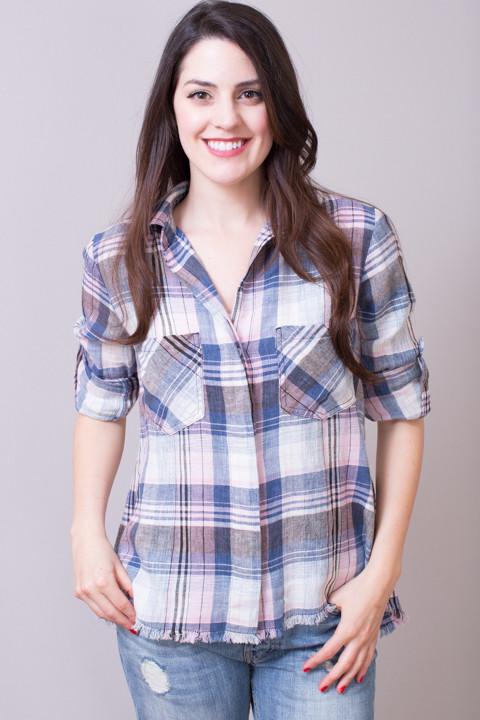 Lavender cloud button down blouse bella dahl for Bella dahl plaid shirt