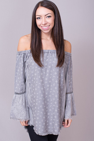 Billy T Grey Printed Off The Shoulder