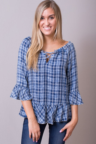 Billy T Plaid Lace Up Tunic