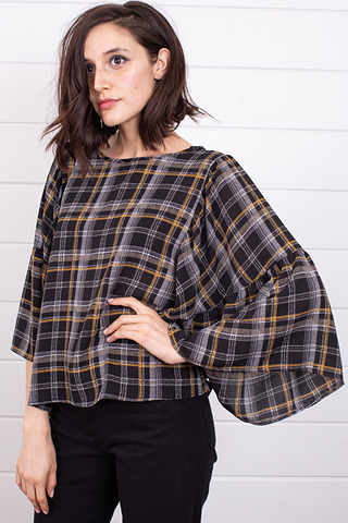 Blu Pepper Emily Plaid Blouse