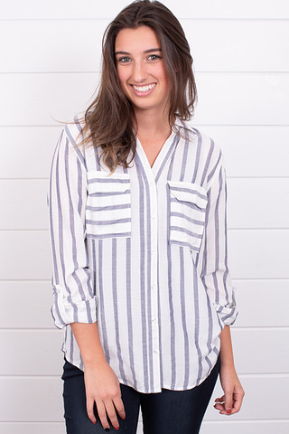 White Stripe Button Down
