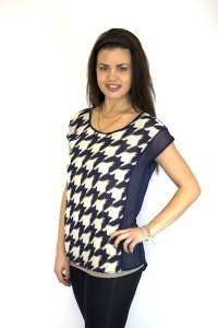 Navy Houndstooth Sheer Top