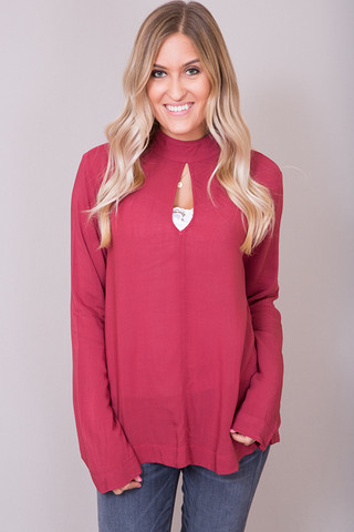 Bella Dahl Cherry Mock Neck Blouse