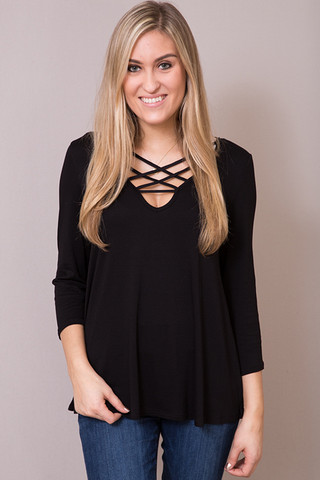 Entro Black Criss Cross Tee