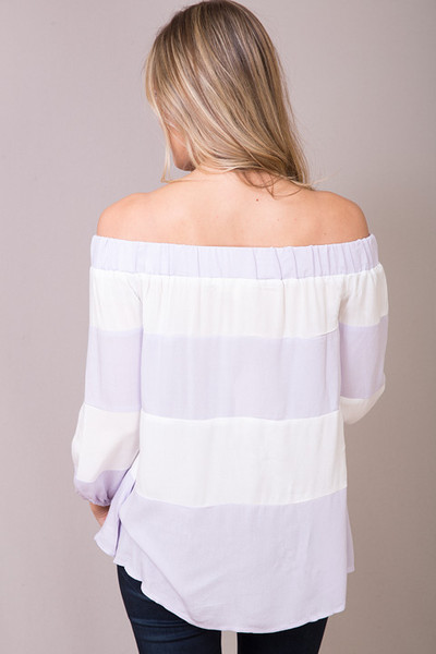 Entro Lilac Striped Off The Shoulder 2