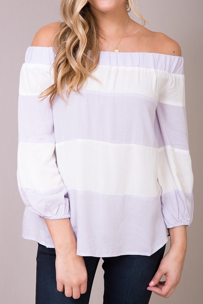 Entro Lilac Striped Off The Shoulder 3