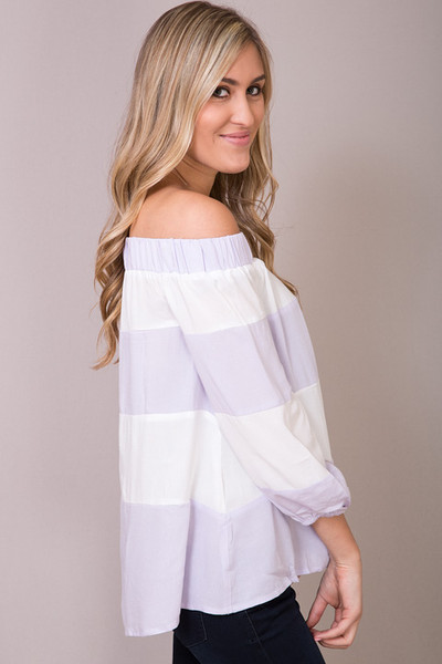 Entro Lilac Striped Off The Shoulder 4