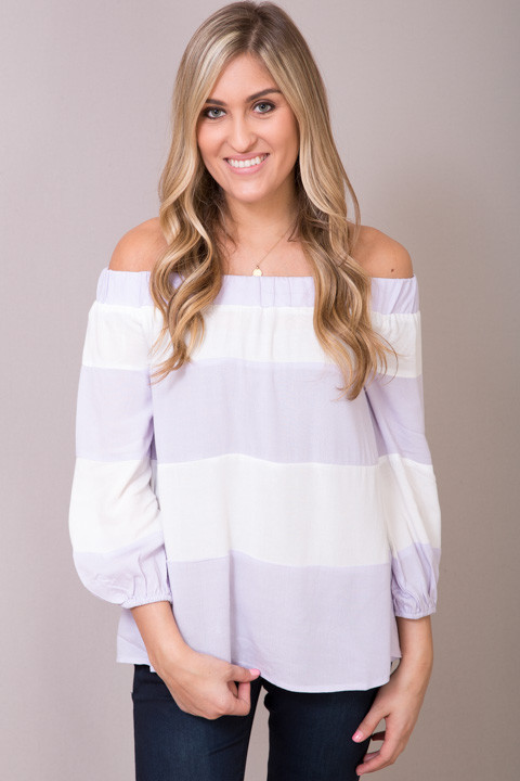 Entro Lilac Striped Off The Shoulder