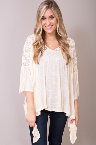 Entro Natural Lace Peasant Top