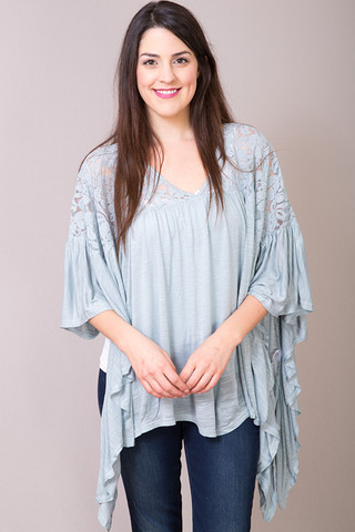 Entro Sage Lace Peasant Top