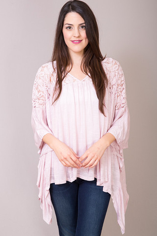 Entro Tea Rose Lace Peasant Top