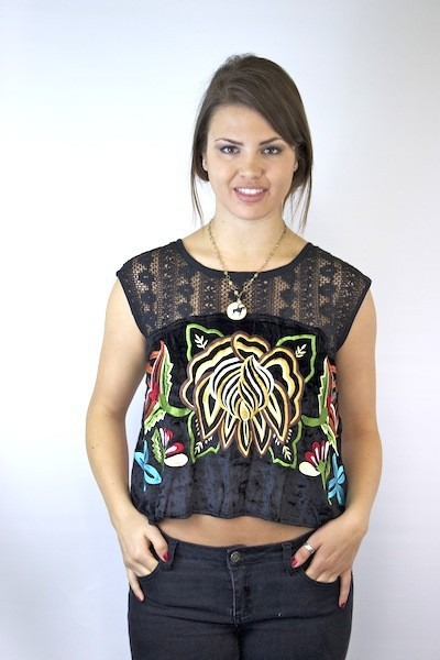 Free People Embroidered Native Rose Top