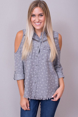 Billy T Grey Printed Cold Shoulder Button Down