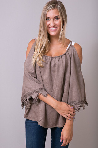 Hayden Suede Like Lace Tunic