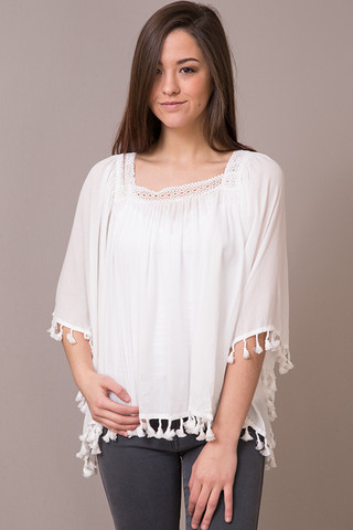 Hazel White Tassel Top