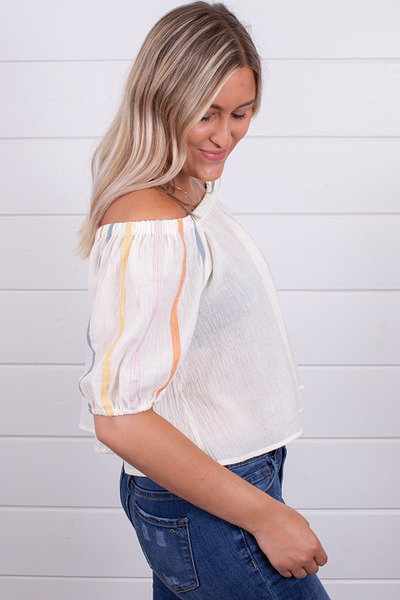Hem and Thread Cream Peasant Top 2