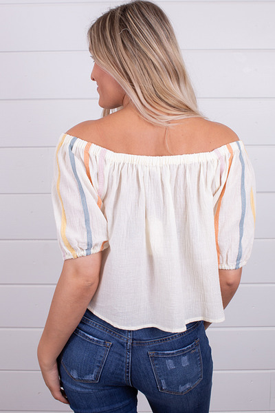 Hem and Thread Cream Peasant Top 3