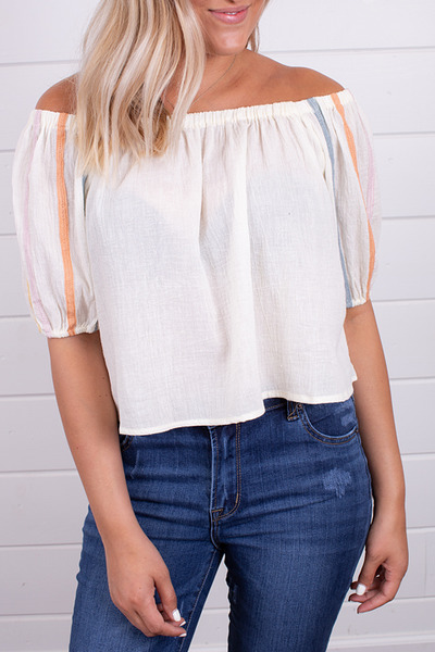 Hem and Thread Cream Peasant Top 4