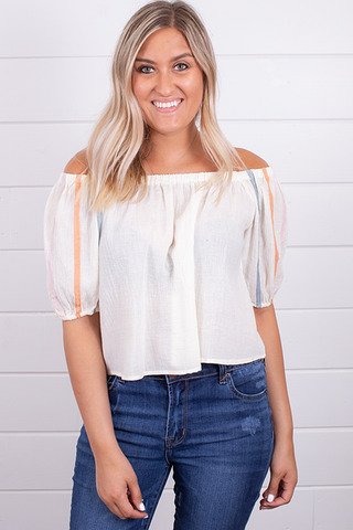 Hem and Thread Cream Peasant Top
