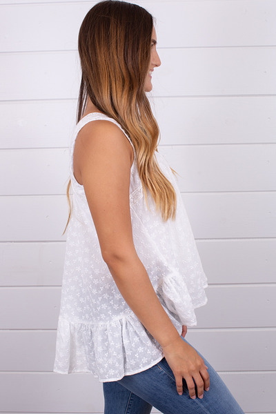 Hem and Thread Off White Eyelet Top 2