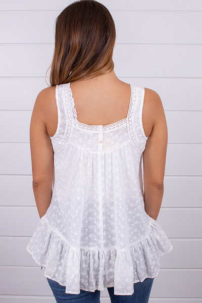 Hem and Thread Off White Eyelet Top 3