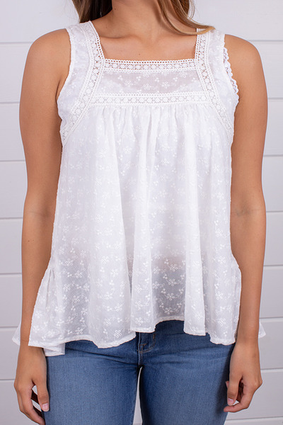 Hem and Thread Off White Eyelet Top 4