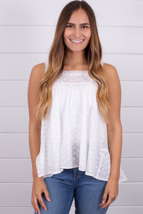 Hem and Thread Off White Eyelet Top
