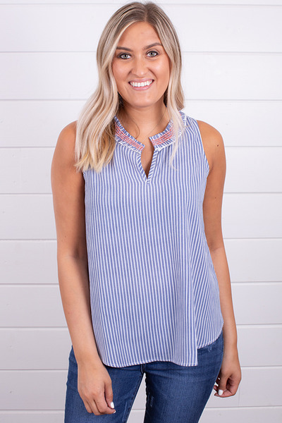 Hem and Thread Smock Stripe Top