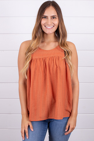 Hem and Thread Textured Stripe Tank