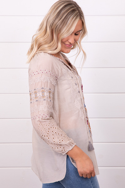 Johnny Was Collection Angelique Eyelet Peasant Blouse 2