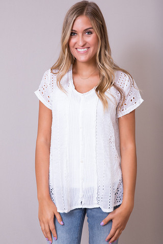 Johnny Was Collection Eyelet Flirty Blouse