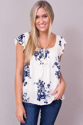 Lovestitch Blue Tapestry Top