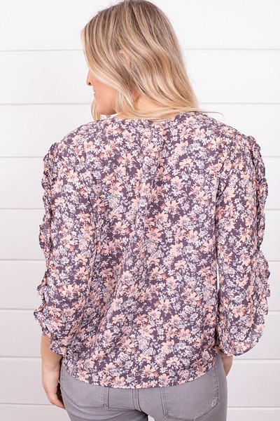 Lovestitch Floral Ruffle Sleeve Top 2